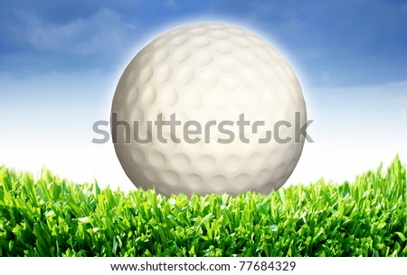 High resolution 3d white golf ball in green grass on a blue sky - stock photo