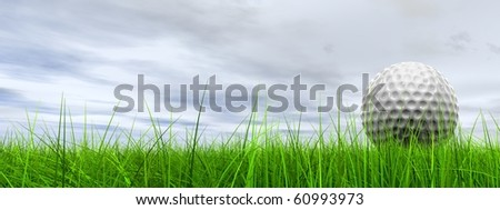 High resolution 3d white golf ball in green grass on a blue sky with clouds