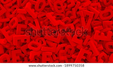 High resolution detailed 3D rendered abstract background  with typographics trendy composition with L O V E red smooth letters Stock fotó ©