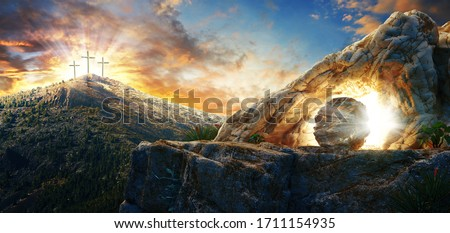 High resolution. Easter Sunday concept: Empty tomb stone with cross on meadow sunrise background. 3d rendering Stock photo ©