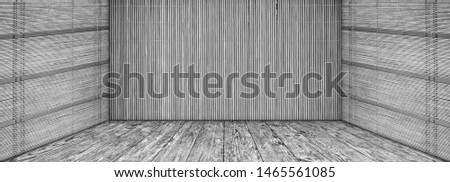 High resolution empty gray grunge scenery with Bamboo mat walls and old knotted Pine wood planked stage