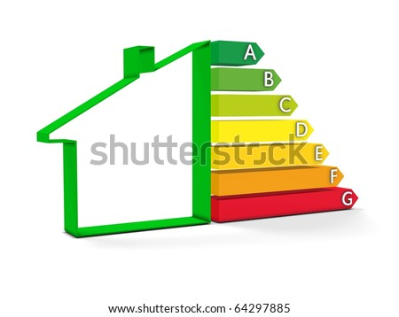 High resolution Energy chart with house symbol. Conceptual image for green architecture, energy or power saving and rating with copy space