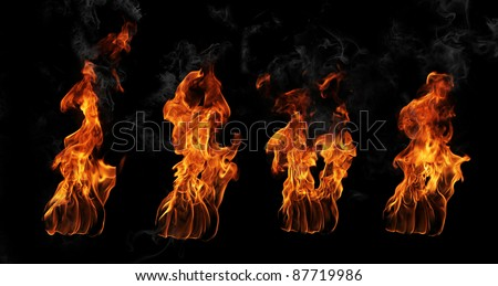 High resolution fire flames from torch, isolated on black background