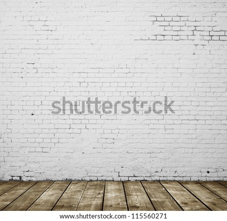 High resolution gray brick concrete room - stock photo