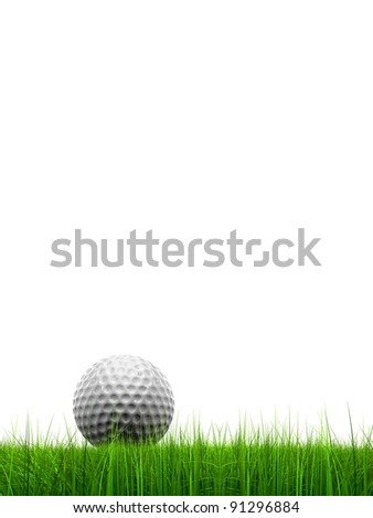 High resolution green, fresh and natural 3d conceptual grass isolated on white background with a golf ball at horizon ideal for club,sport,business,recreation,competition or fun design