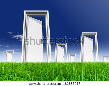High resolution green fresh and natural 3D conceptual grass over a blue sky background opened doors at horizon ideal for religion home recreation faith business success opportunity or future