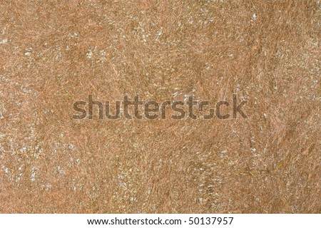 High resolution hand made brown grunge paper background mixed with natural coir fibers