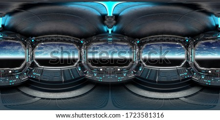 High resolution HDRI panoramic view of dark blue spaceship interior. 360 panorama reflection mapping of a futuristic spacecraft room 3D rendering. Elements of this image furnished by NASA
