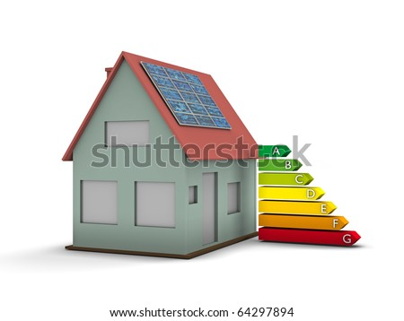 High resolution house with solar panel and Energy chart symbol. Conceptual image for green architecture, alternative energy or power saving and rating with copy space