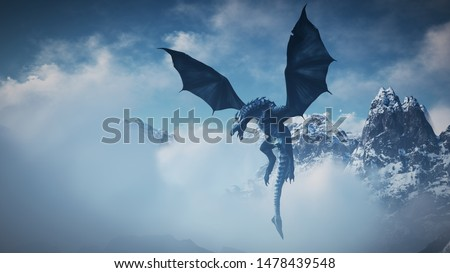 High resolution Ice dragon 3D rendered. Write your text and use it as poster, header, banner or etc. Foto stock ©