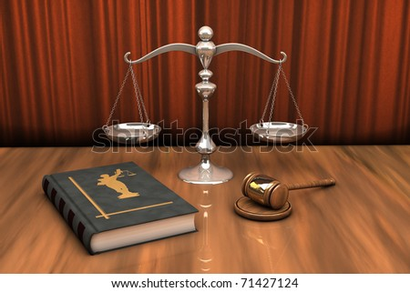 High resolution illustration of attributes of justice: gavel, scale and law book on the table