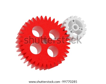 High resolution image. 3d rendered illustration. Abstract mechanism. 3d gear wheel isolated on white background.