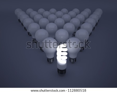 High resolution image. 3d rendered illustration. Light bulb symbol.