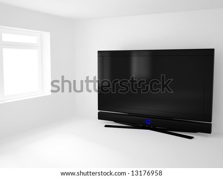 High resolution image 3d room with a  tv. 3d illustration.