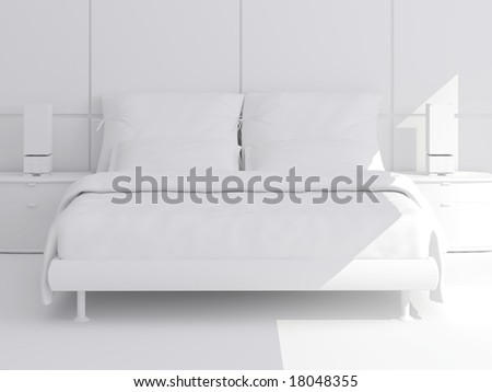 High resolution image interior. A bed in a bedroom.