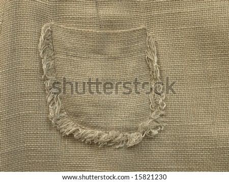 High resolution image of back pocket of linen material