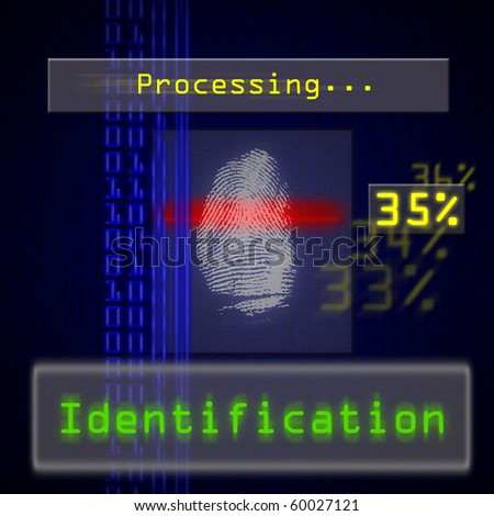 High resolution image of biometric fingerprint scan for identification. Useful for access or security concepts.