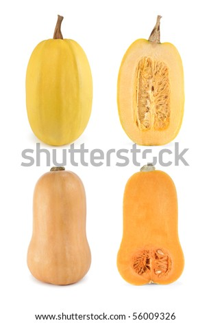 High-resolution image of four pumpkins, two whole and two halves