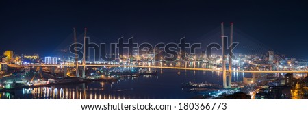 High resolution image of Zolotoy Bridge in Vladivostok, night. Winter.