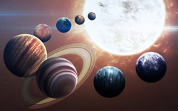 High resolution images presents planets of the solar system. This image elements furnished by NASA