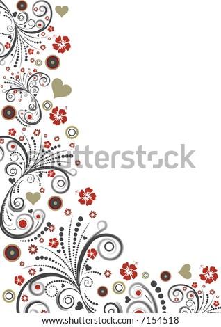 High resolution JPG of a trendy vector floral border design