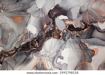 High resolution. Luxury abstract fluid art painting in alcohol ink technique, mixture of black, gray and gold paints. Imitation of marble stone cut, glowing golden veins. Tender and dreamy design. Сток-фото ©