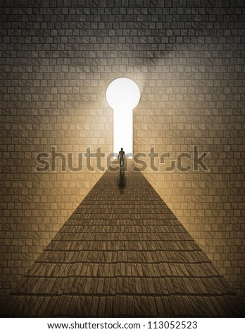 High Resolution Man before keyhole of light