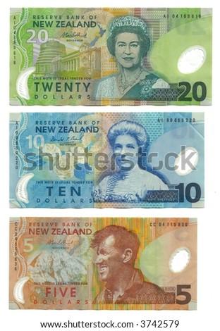 High Resolution New Zealand banknotes - five, ten and twenty dollars