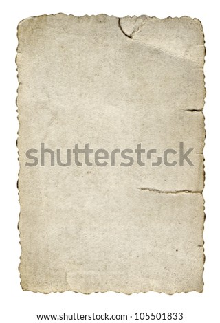 High resolution old, grungy,burned and stained paper vintage background isolated on white