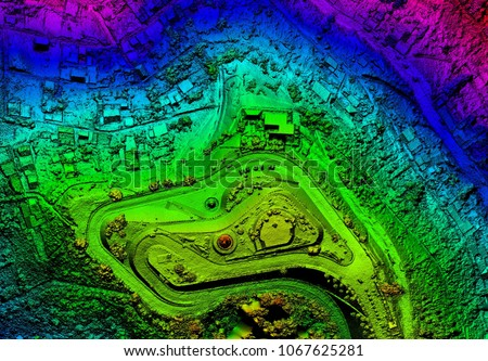High Resolution Orthorectified Orthorectification Aerial Map Used For Photogrammetry Panecillo Hill In Quito Ecuador
