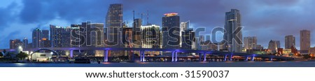 High Resolution Panorama, Famous Night Scene - Downtown Miami Florida
