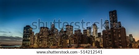 High Resolution Panorama of Manhattan, New York during the Dusk. View from Brooklyn Bridge, NY #514212541