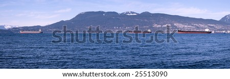 High resolution panorama of ships waiting by the Vancouver port on a nice winter day