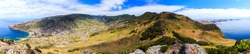 High resolution panoramic view from Pico do Facho viewpoint over the Machico valley, Madeira, Portugal