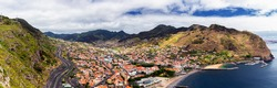 High resolution panoramic view from Queimada or Francicso Alvares Nobrega Viewpoint to Machico bay, Madeira, Portugal
