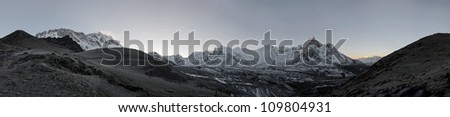 High resolution panoramic view of circus of the Ama Dablam and Lhotse-Nuptse wall before sunrise - Everest region, Nepal