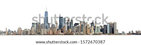 High resolution panoramic view of Lower Manhattan from the Ellis Island - isolated on white. Clipping path included. Stock photo ©