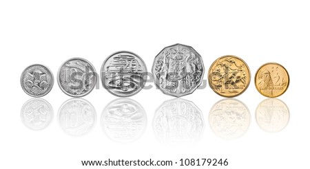 High resolution photo of Australian coins, 5 cent, 10 cents, 20 cents, 50 cents, 1 dollar, and 2 dollars