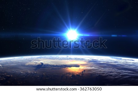 High Resolution Planet Earth view. The World Globe from Space in a star field showing the terrain and clouds. Elements of this image are furnished by NASA #362763050