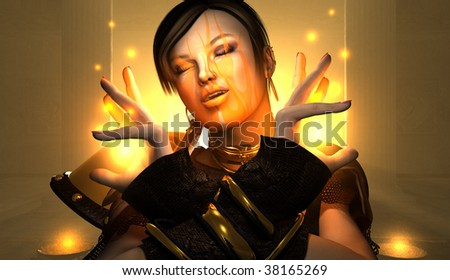 High resolution portrait of wizard woman casting spell