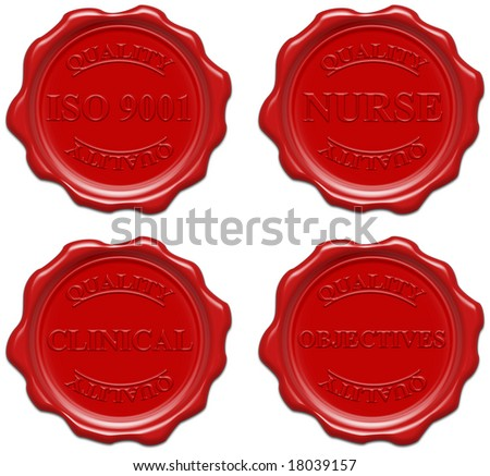 High resolution realistic red wax seal with text