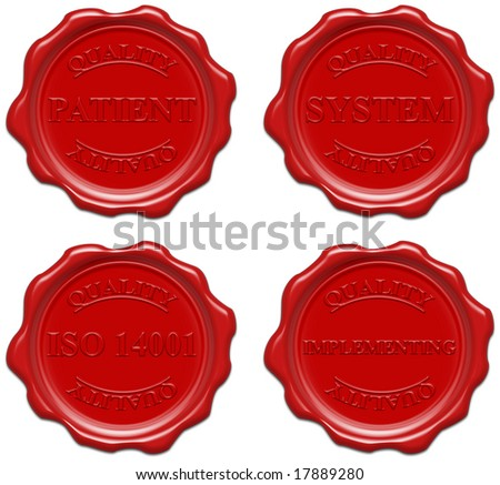 High resolution realistic red wax seal with text : quality, patient, system, iso 14001, implementing - stock photo