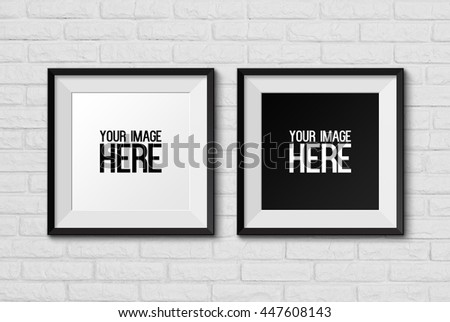 High resolution realistic square picture frame on white brick wall background.