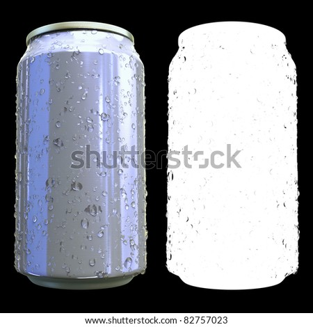 High resolution render of an generic condensation wetted beverage can with alpha-map on black