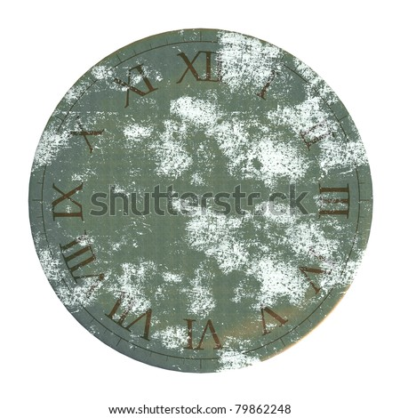 High resolution render of an weathered copper oxid clock face with Roman numerals  / Clock Face Roman numerals