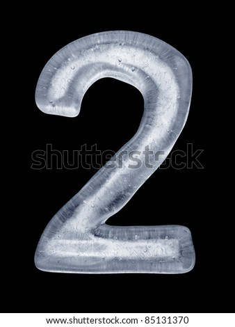 High resolution render of the Number 2 made of ice on black.