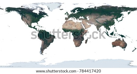 High resolution satellite image (map) of Earth's land in equirectangular projection isolated on white background. Dry land high detailed realistic texture. Elements of this image furnished by NASA.