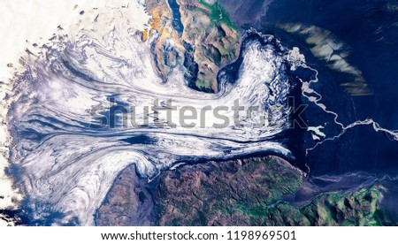 High resolution satellite image of calving Vatnajökull glacier, Iceland, from above, aerial view, natural background texture, contains modified Copernicus Sentinel data [2018]