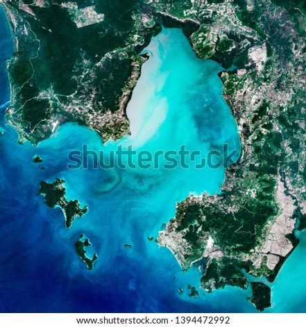 High resolution satellite image of Cambodian coast, Koh Rong, Koh Rong Sanloem, Boutum Sakor national park and Sihanoukville from above, aerial view, contains modified Copernicus Sentinel data [2018]