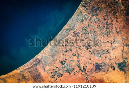 High resolution satellite image of Gaza Strip and Gaza city from above, aerial view, natural background map, contains modified Copernicus Sentinel data [2018]